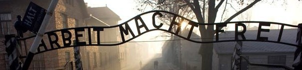 "Auschwitz-gateway with the words ""Arbeith macht frei"" which means Work sets you free"""